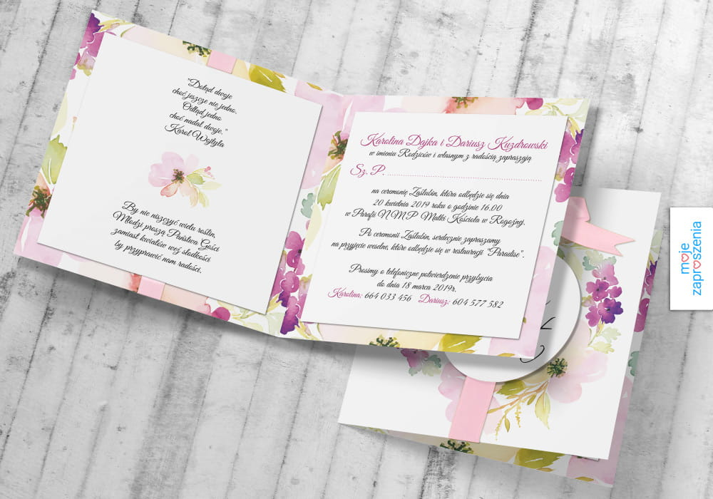 Anemony Premium Zaproszenia I Zawiadomienia ślubne Moje