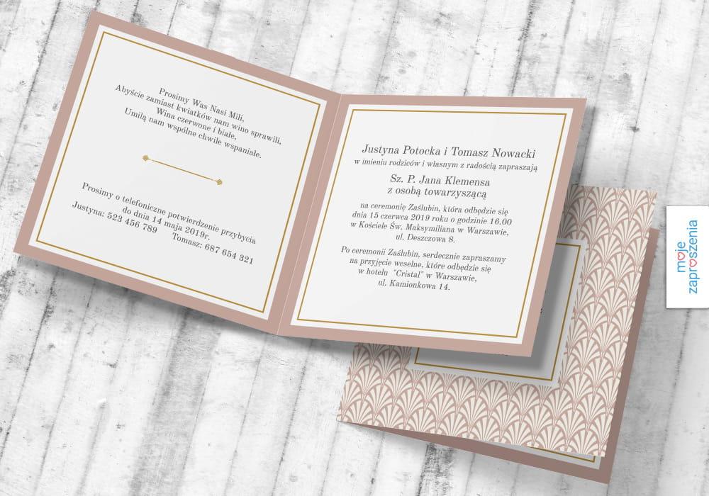 Art Deco Zaproszenia I Zawiadomienia ślubne Moje Zaproszenia