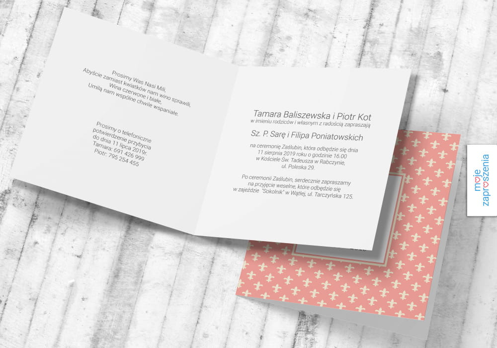 Barokowy Wzór Zaproszenia I Zawiadomienia ślubne Moje Zaproszenia